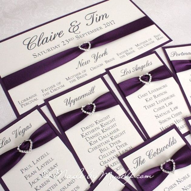 Ribbon Heart Table Plan Cards for you to mount yourself